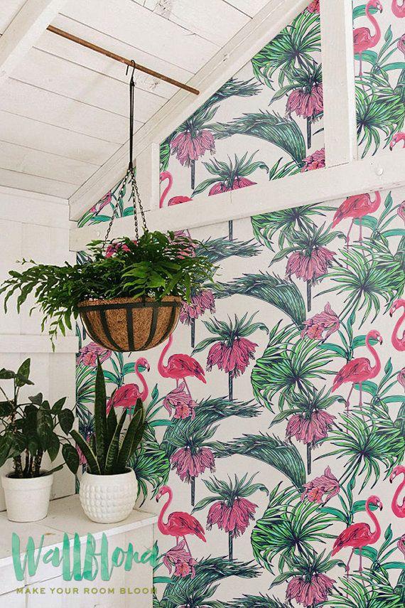 Flamingo & Bismarkia Wallpaper | Carta da parati rimovibile | Carta da parati adesiva auto | Temporanea Wallpaper | Autoadesivo della parete | Decalcomanie da muro