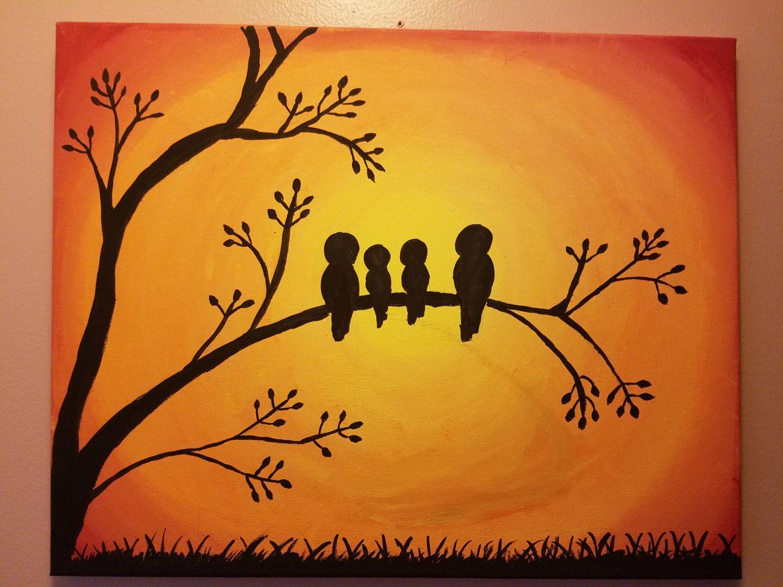 Customized Family Love Birds Painting Etsy In 2020 Love Birds