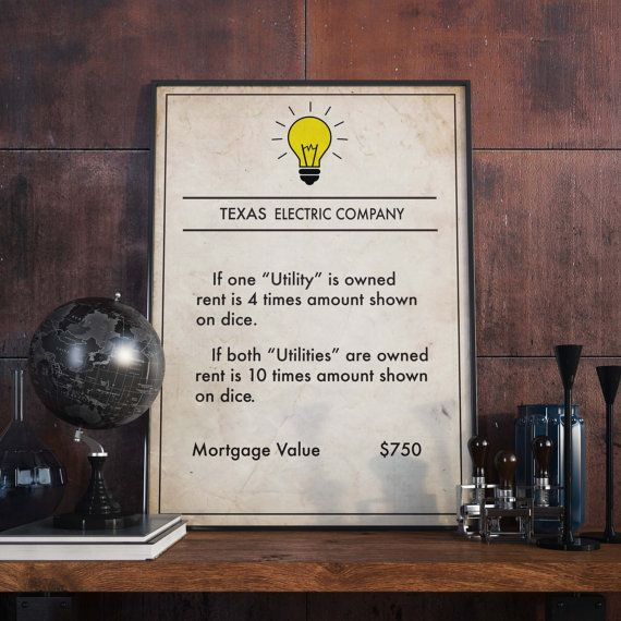 Monopoly inspired Texas Electric Company Poster, Board Game Print ...