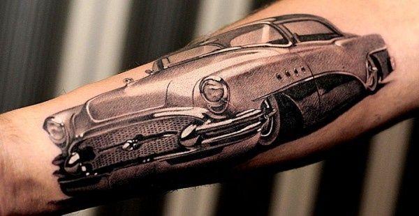 Car Tattoos Classic Grey Ink Car Tattoo On Muscles Cool Tattoos