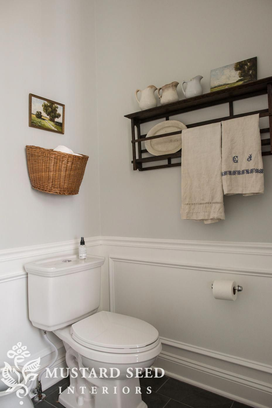 Installing Picture Frame Molding In The Guest Bathroom Helps Break Up The Wall Space And Add Architectural Diy Bathroom Decor Picture Frame Molding Chair Rail