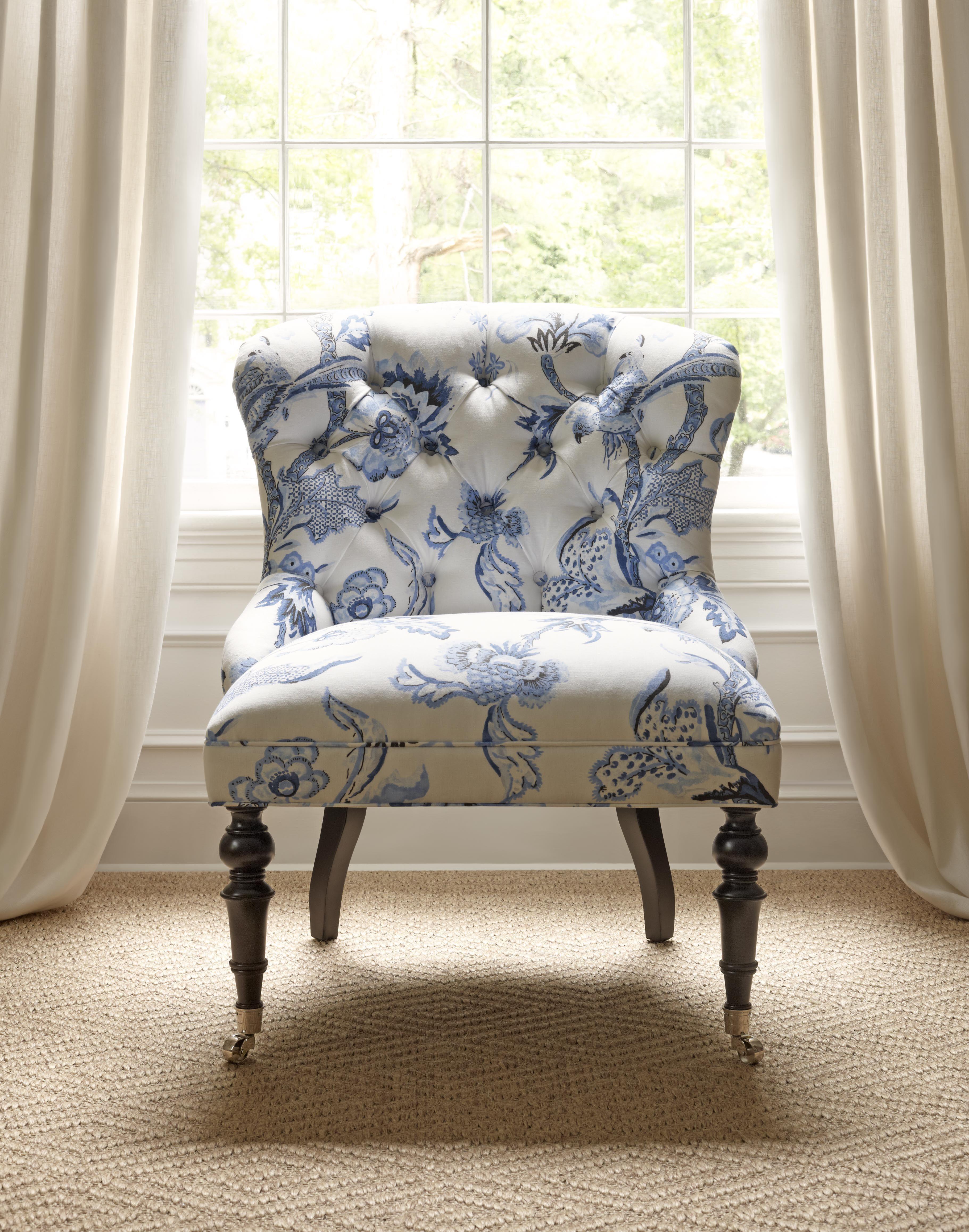Middleton Chair in Shrewsbury Blue & White Thibaut