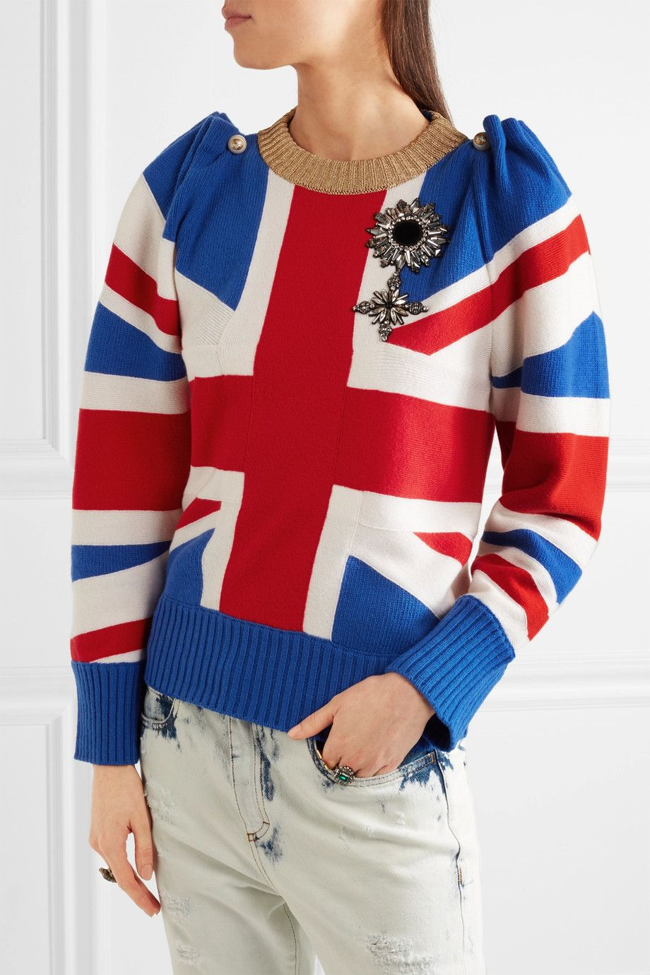 Gucci | Union Jack embellished wool sweater | NET-A-PORTER.COM