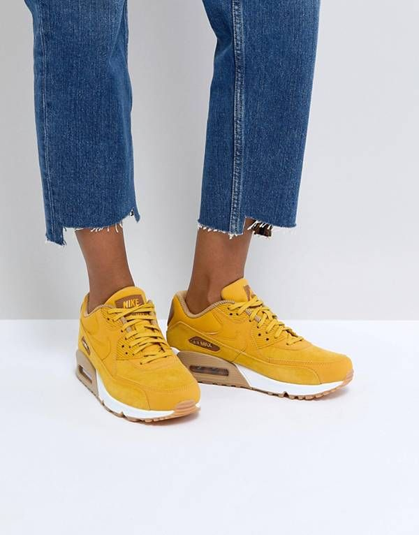Nike Air Max 90 Mustard Suede Trainers With Gum Sole 3f3439cba