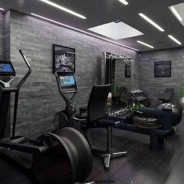 Modern Home Gym With Grey Walls #modernhomegyms