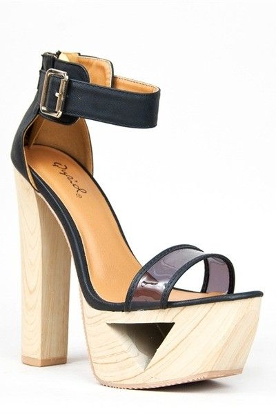 High heel sandals wood platform