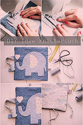 Babygeschenke selber nähen  DIY Idee Knistertuch Rheinherztelbe