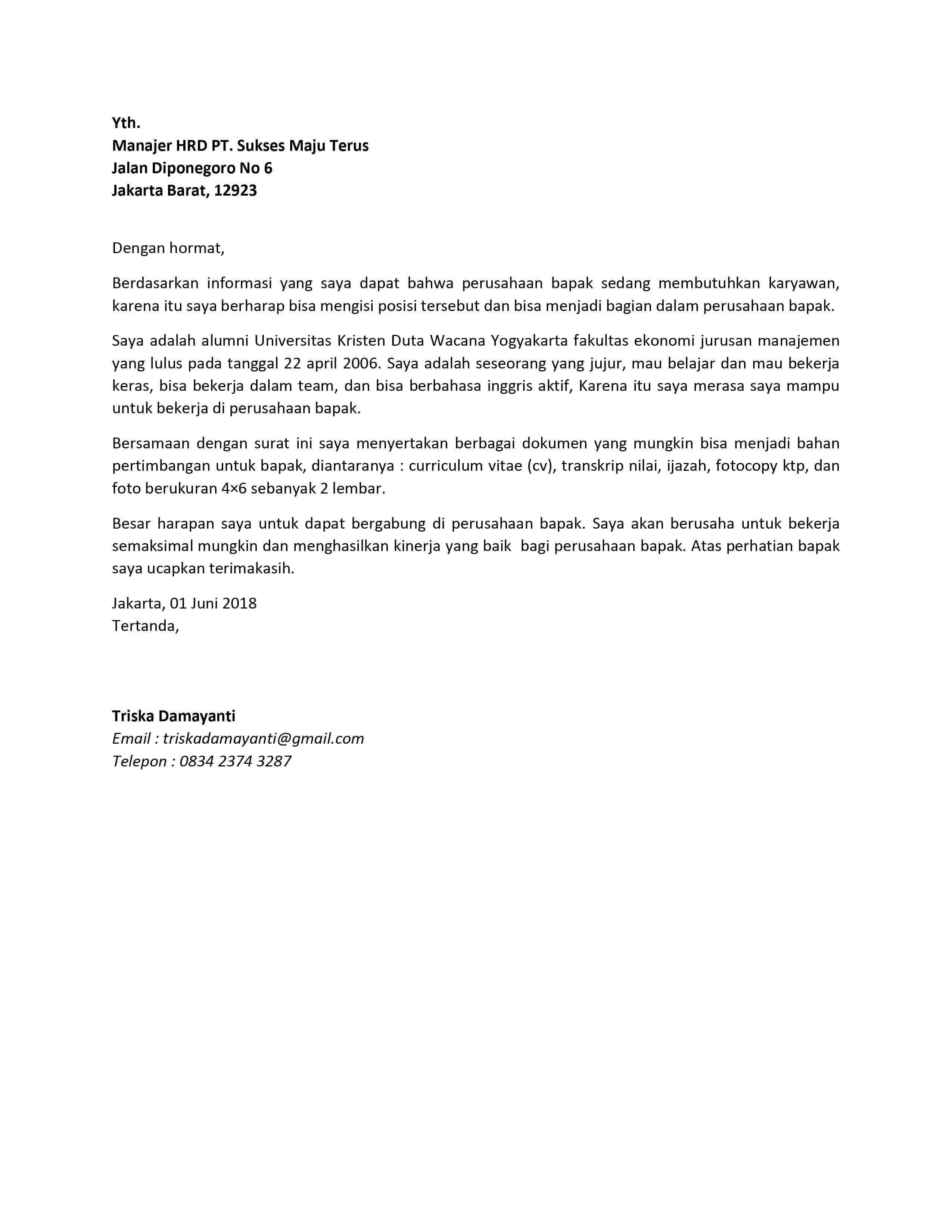 Contoh Surat Lamaran Kerja Surat Tulisan Bahasa
