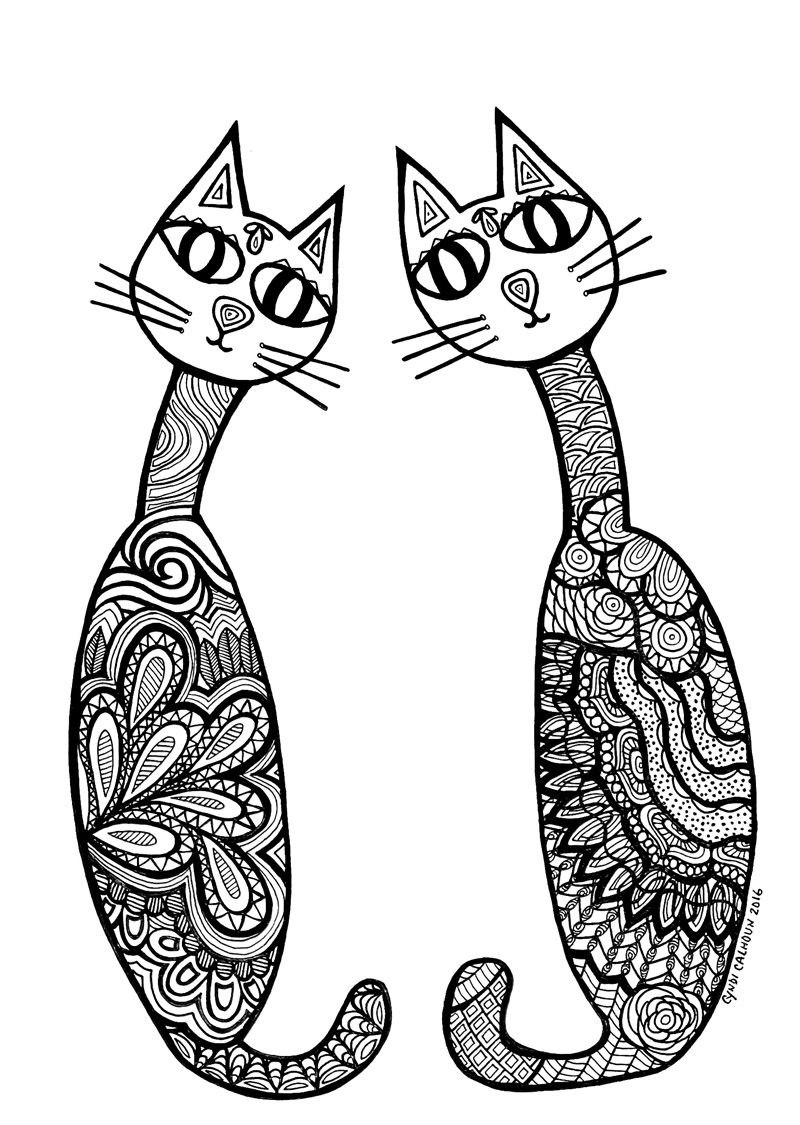 Download Cat Coloring Pages for Adults http://procoloring.com/cat ...