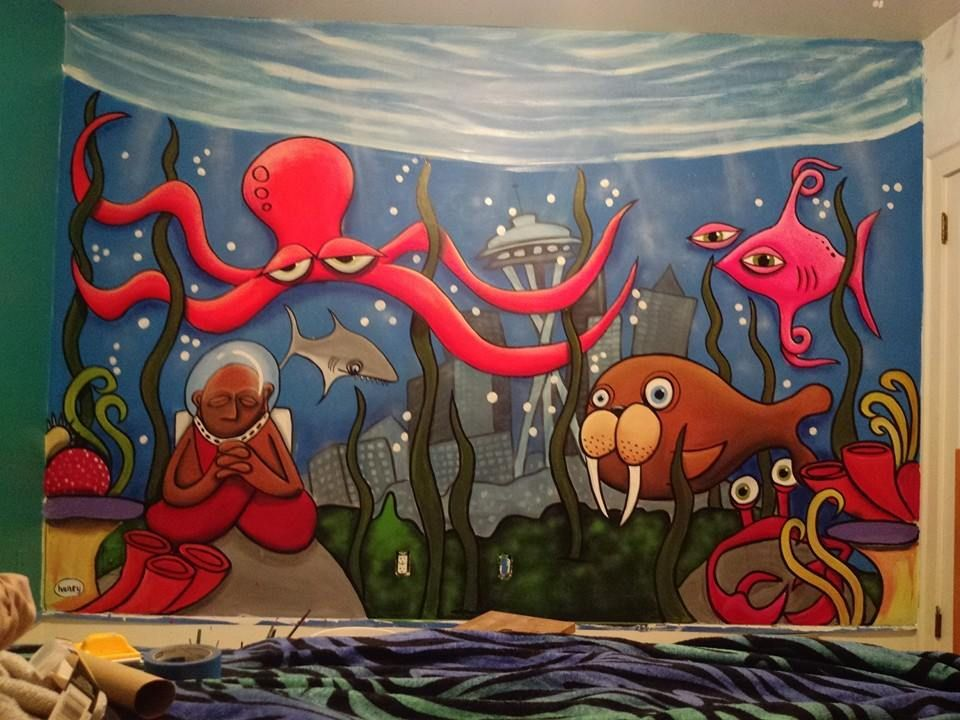 Aqauatic bedroom mural masterpiece by ryan henry