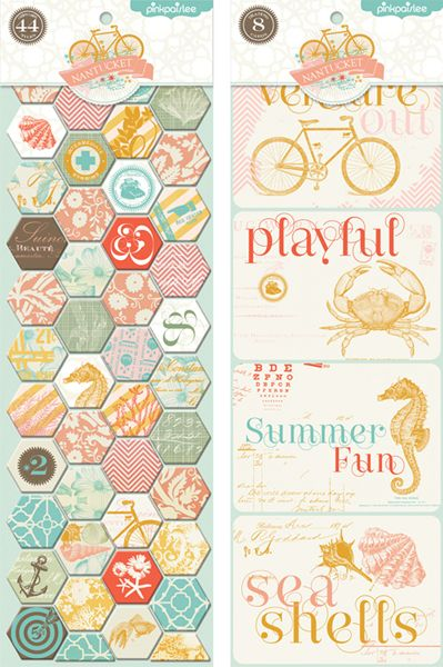 Pink Paislee - Nantucket: Chip Tiles (chipboard stickers) & Debossed Trading Cards (letterpress style) #scrapbooking