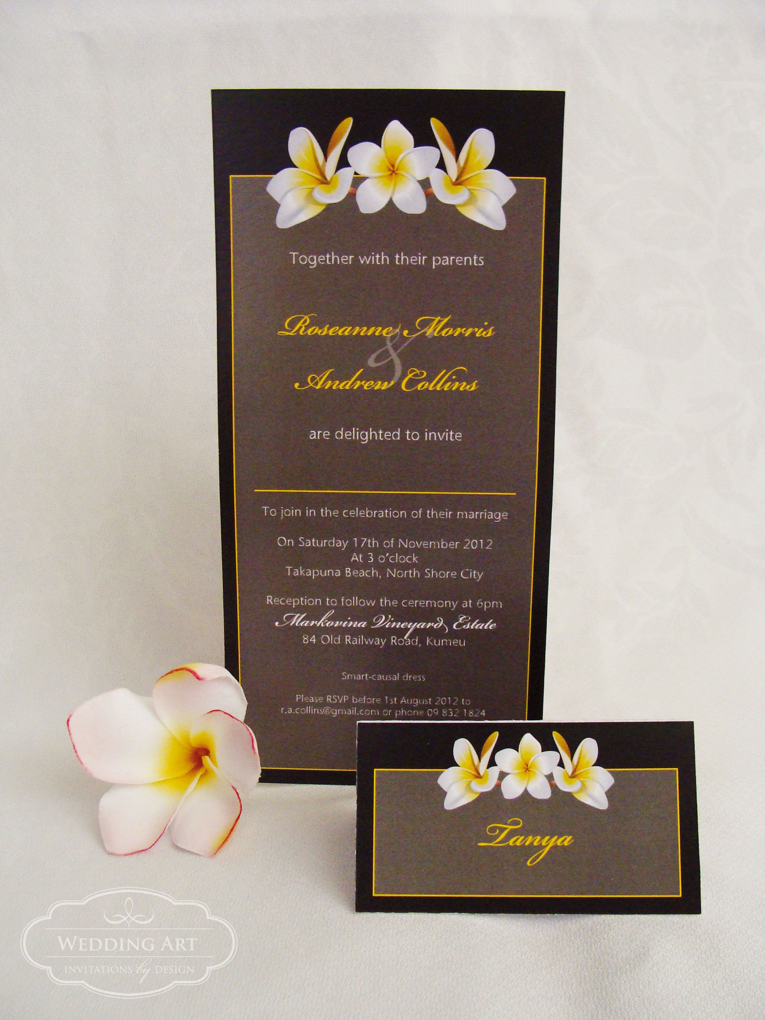 wedding renewal invitation ideas%0A Frangipani Wedding invitation and matching Frangipani Placename card   www weddingart co nz