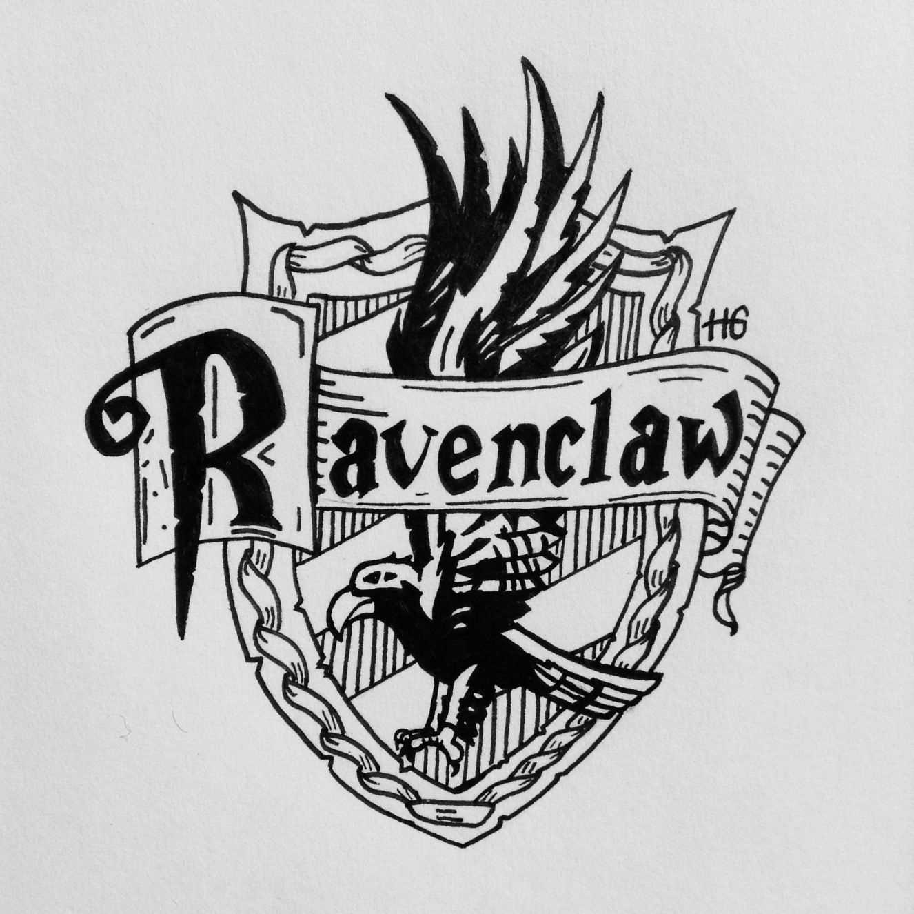 Ravenclaw Crest Ink Drawing Harry Potter Drawings Harry Potter Coloring Pages Harry Potter Drawings Easy