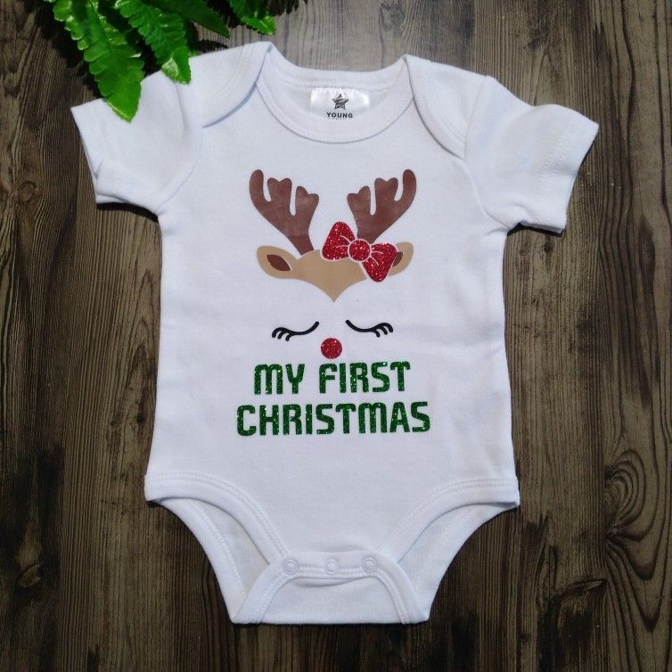 First Christmas one piece First Christmas bodysuit reindeer 1st Christmas holiday outfit