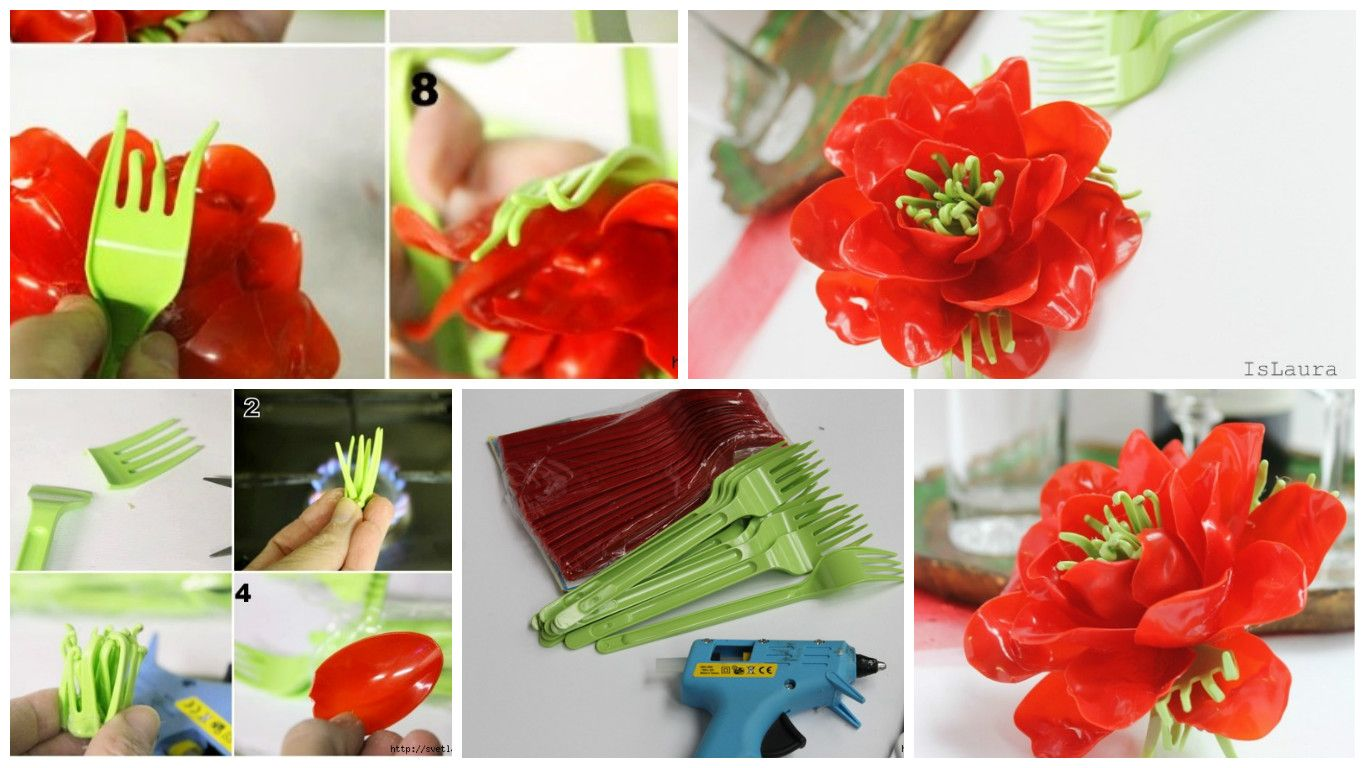 How To Make Flower From Plastic Spoons And Forks Simple Craft Ideas Plastic Spoons Flower Making Spoon Crafts