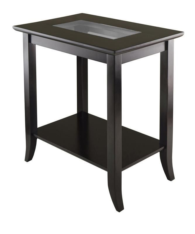 Stupendous Winsome Wood 92419 Genoa Rectangular End Table With Glass Caraccident5 Cool Chair Designs And Ideas Caraccident5Info