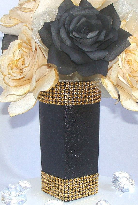 wedding centerpieces fake flowers%0A Gold and black floral centerpiece  Paper flower table decor  Bridal shower  decor  Home decor  Event centerpiece  Wedding table decor