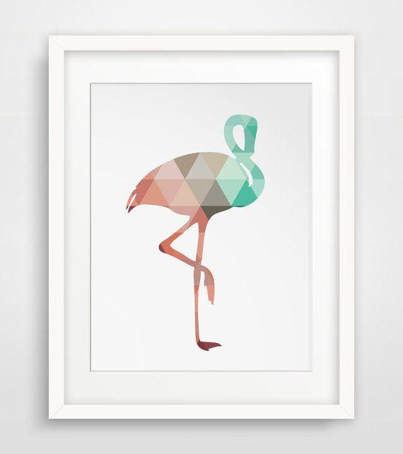 Flamingo art mint and coral flamingo print coral art for Fenicottero arredamento