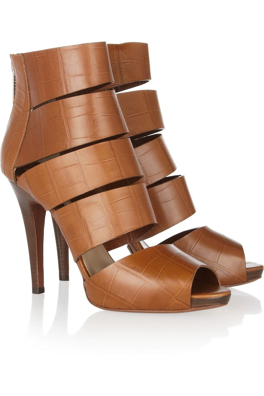 50d7f2cfa6f Michael Kors Croceffect Leather Sandals in Brown