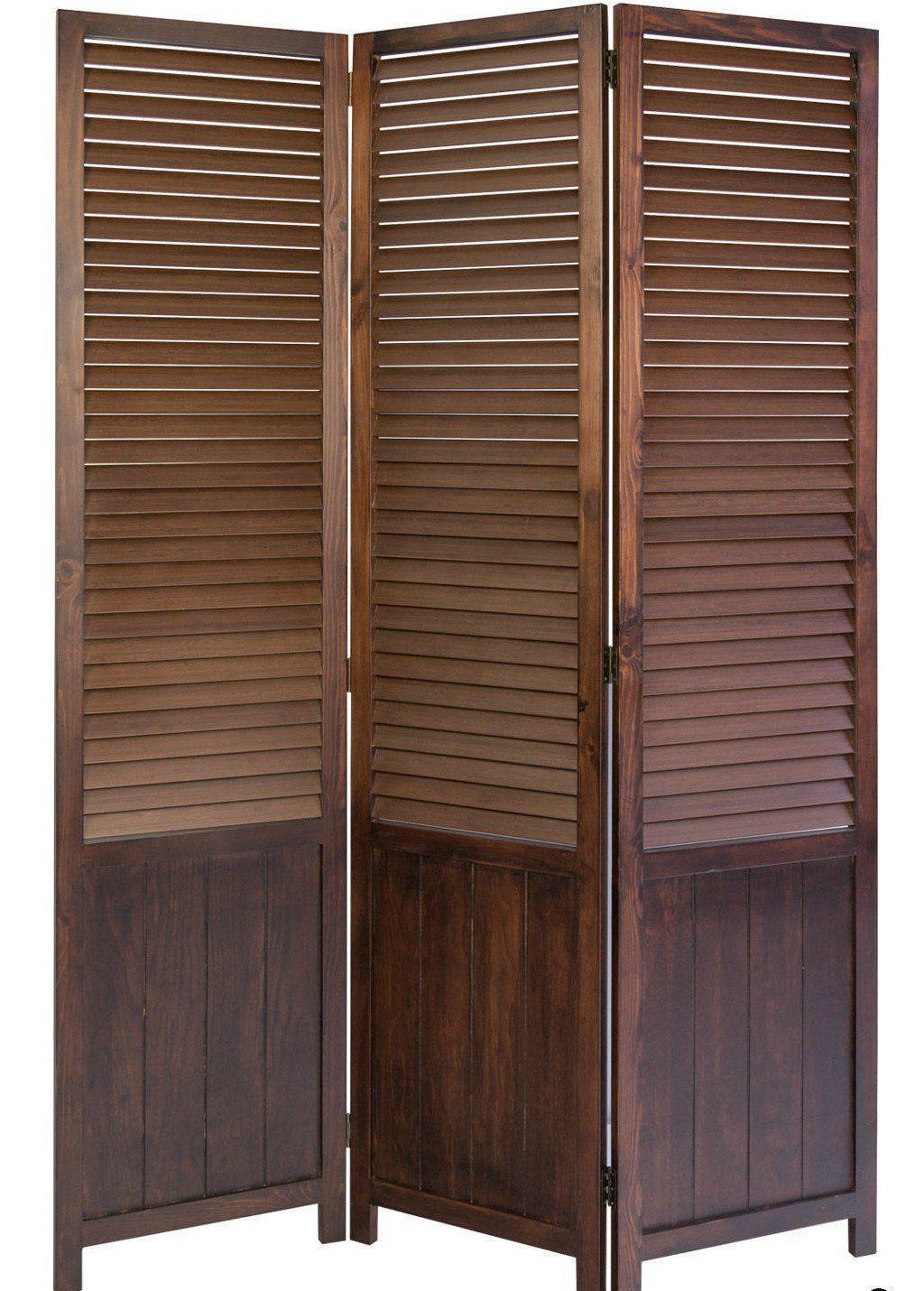 paravent wooden slat room divider screen brown 3 panel rh pinterest com