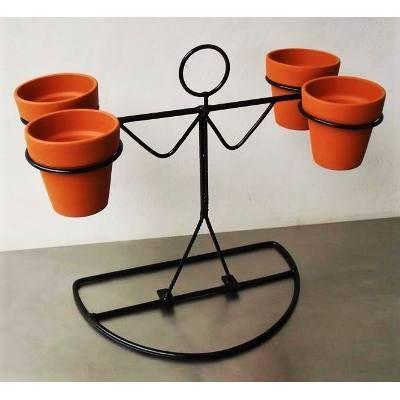 porta cactus maceta hombre de hierro 4 aros   aritos, cactus y macetas