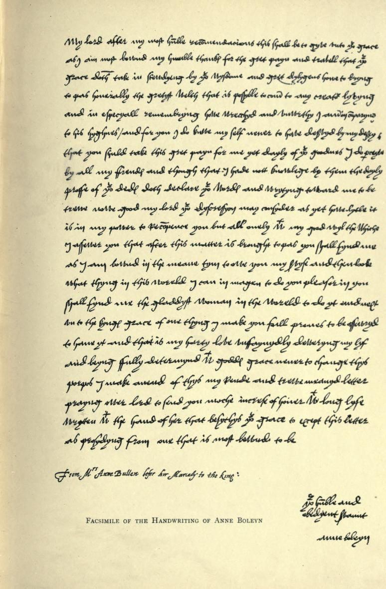 Anne Boleyn Letter To Henry Viii Historical Documents Anne