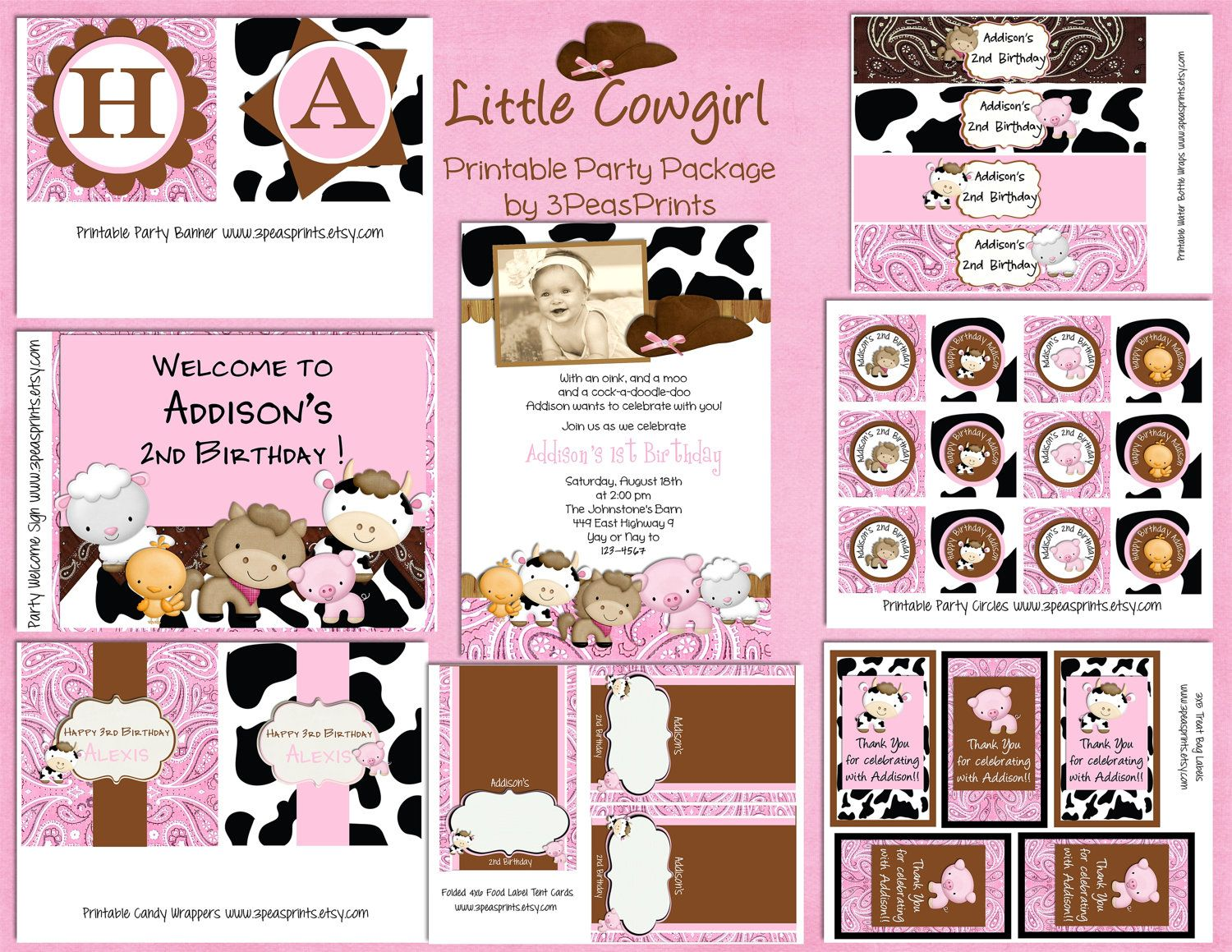 birthday party invitations printable%0A Items similar to Little Cowgirl Birthday Package Printable  Farm Animal  Party  Custom You Print on Etsy