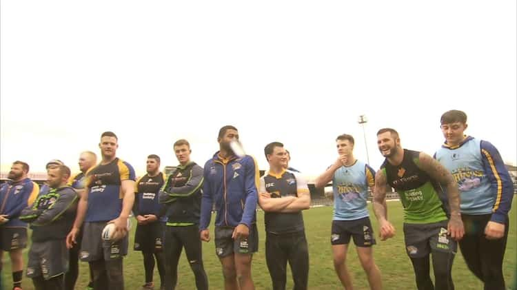 BBC Breakfast's Mike Bushell takes on the Leeds Rhinos in a Zorb !
