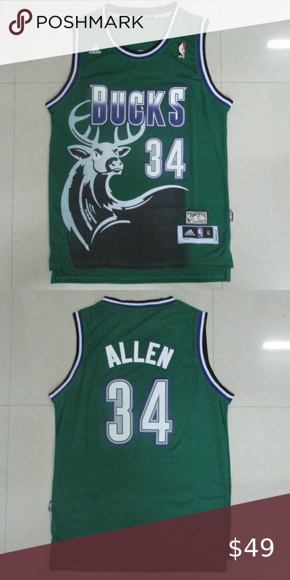 Ray Allen Bucks Jersey Green 1 New With Tags Brand New 2 All Name And Numbers Are Embroidery And Stitched 3 Ships Within 1 Milwaukee Bucks Nba Shirts Jersey