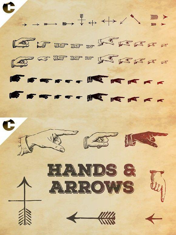 Vintage Hands Arrows Symbols Typography Typography Graphic