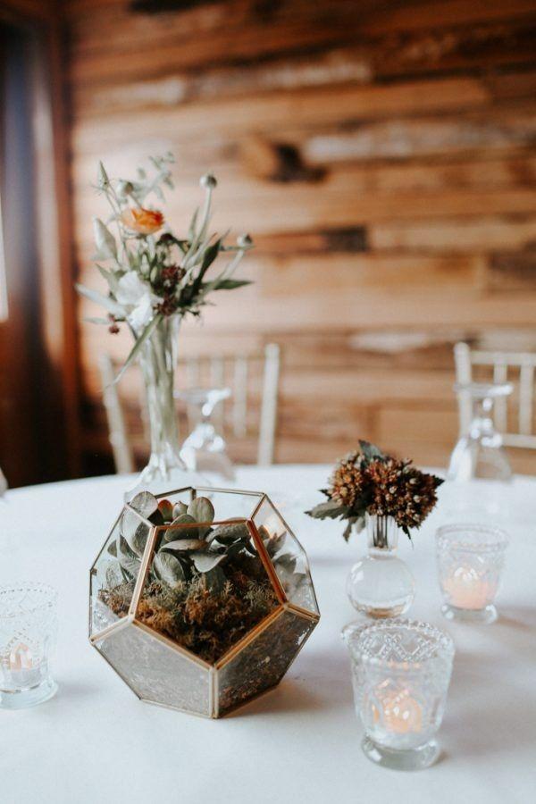 modern fall wedding reception table decor terrarium and succulents rh pinterest com