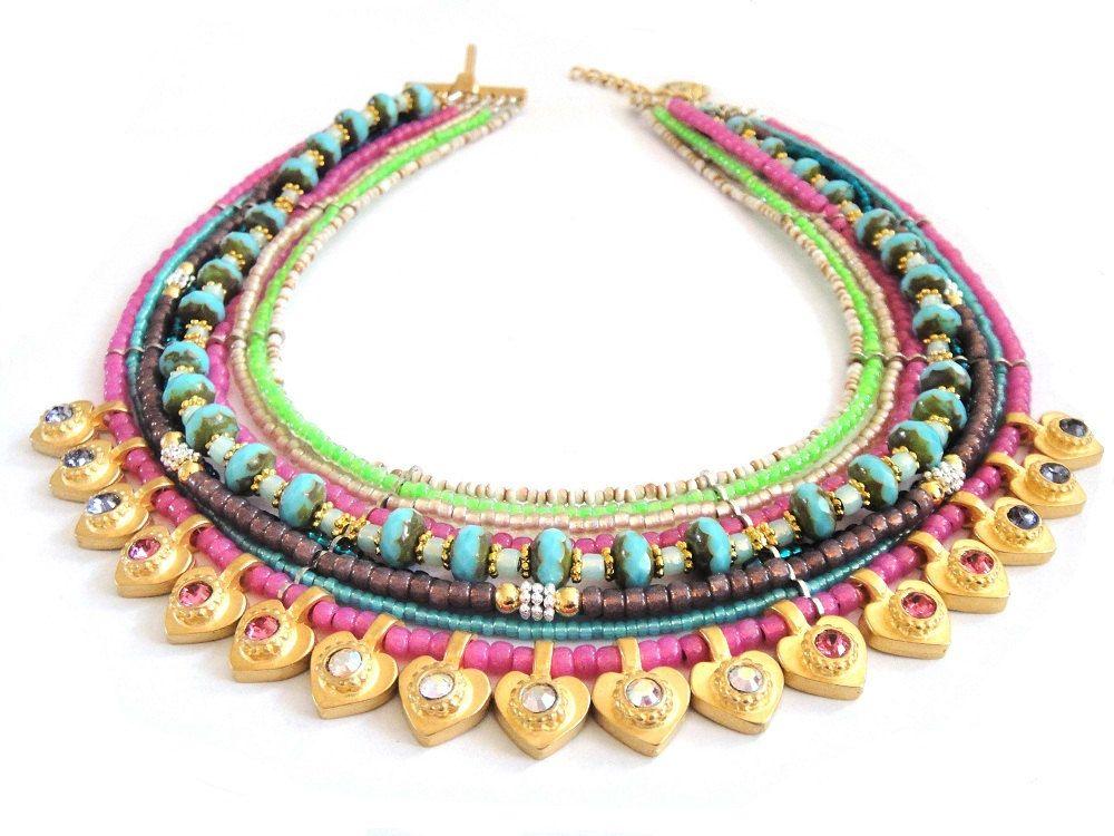 Neon statement necklace  - multiple strands beaded necklace - neon jewelry - heart necklace - beaded choker - bohemian hippie style. €195.00, via Etsy.