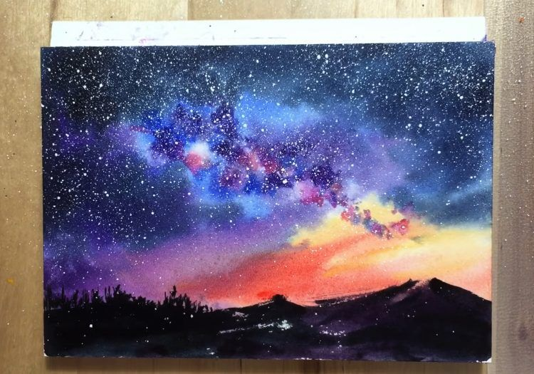 Starry Night Painting Using Easy Watercolor Techniques To Paint