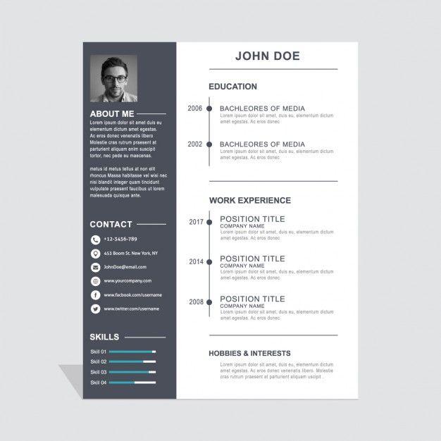 Freepik Graphic Resources For Everyone Graphic Design Resume Resume Design Template Simple Resume