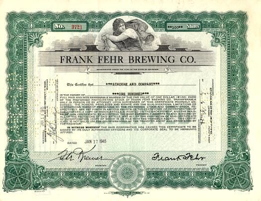 history of louisville, ky - Google Search Fehr 's Brewing Co stock certificate