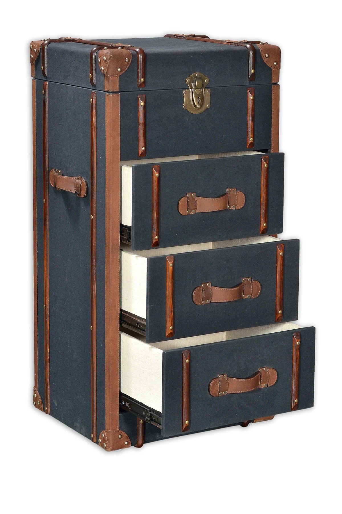 Black Tall Boy Black Canvas Tall 3 Drawer Trunk A Traveler At Home