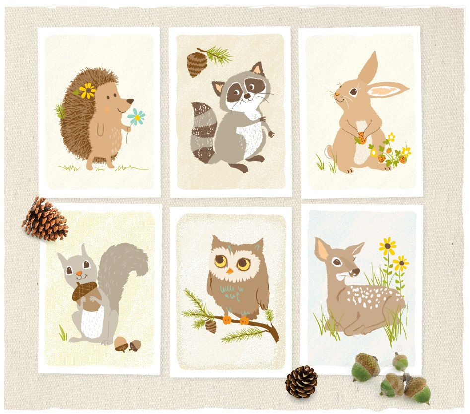 Woodland Animal Owl//Fox Kids//Baby//Nursery Art Prints.Wall Decor Forest Friends