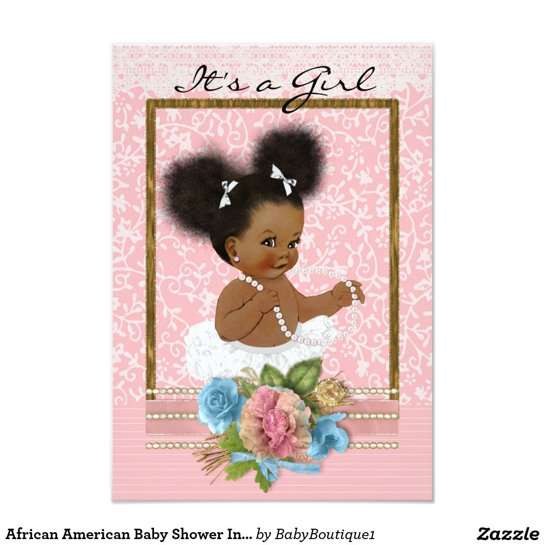 African American Baby Shower Invitation | Baby Boutique ...