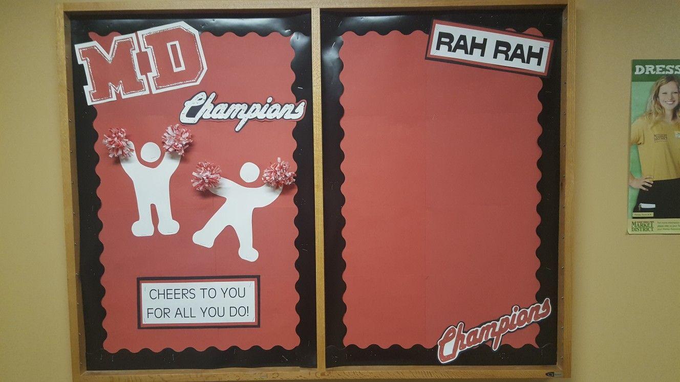 Customer service champion bulletin board cheerleader pom