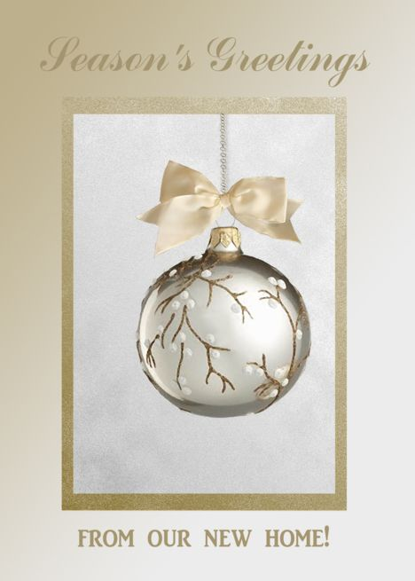 season s greetings from our new home white berry ornament card rh pinterest com