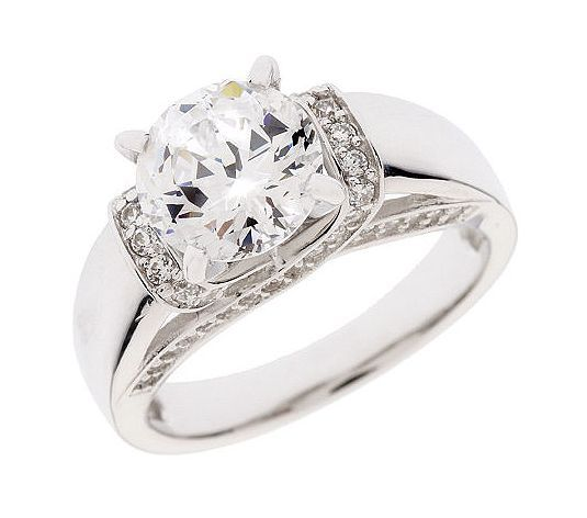 Diamonique 100 Facet 2 35 Cttw Fancy Gallery Ring Platinum Clad Qvc Com White Ring Rings Beautiful Rings