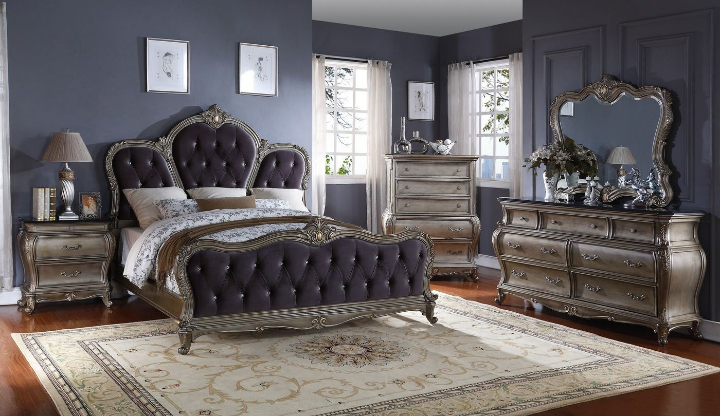 roma french bombe crystal tufted 4 piece king bedroom set in antique rh pinterest com