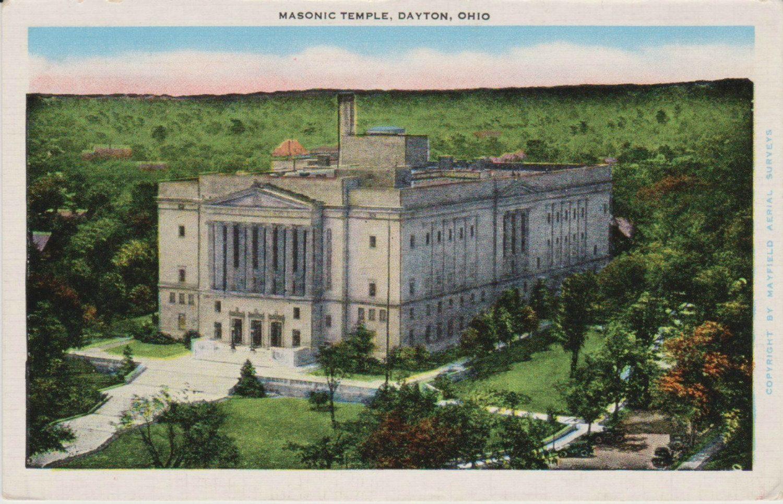 Vintage Masonic Temple Dayton Ohio Postcard, Historic