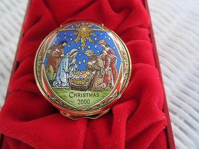 Vintage Halcyon Days Enameled Box Christmas 2000 Nativity Scene In Red Box