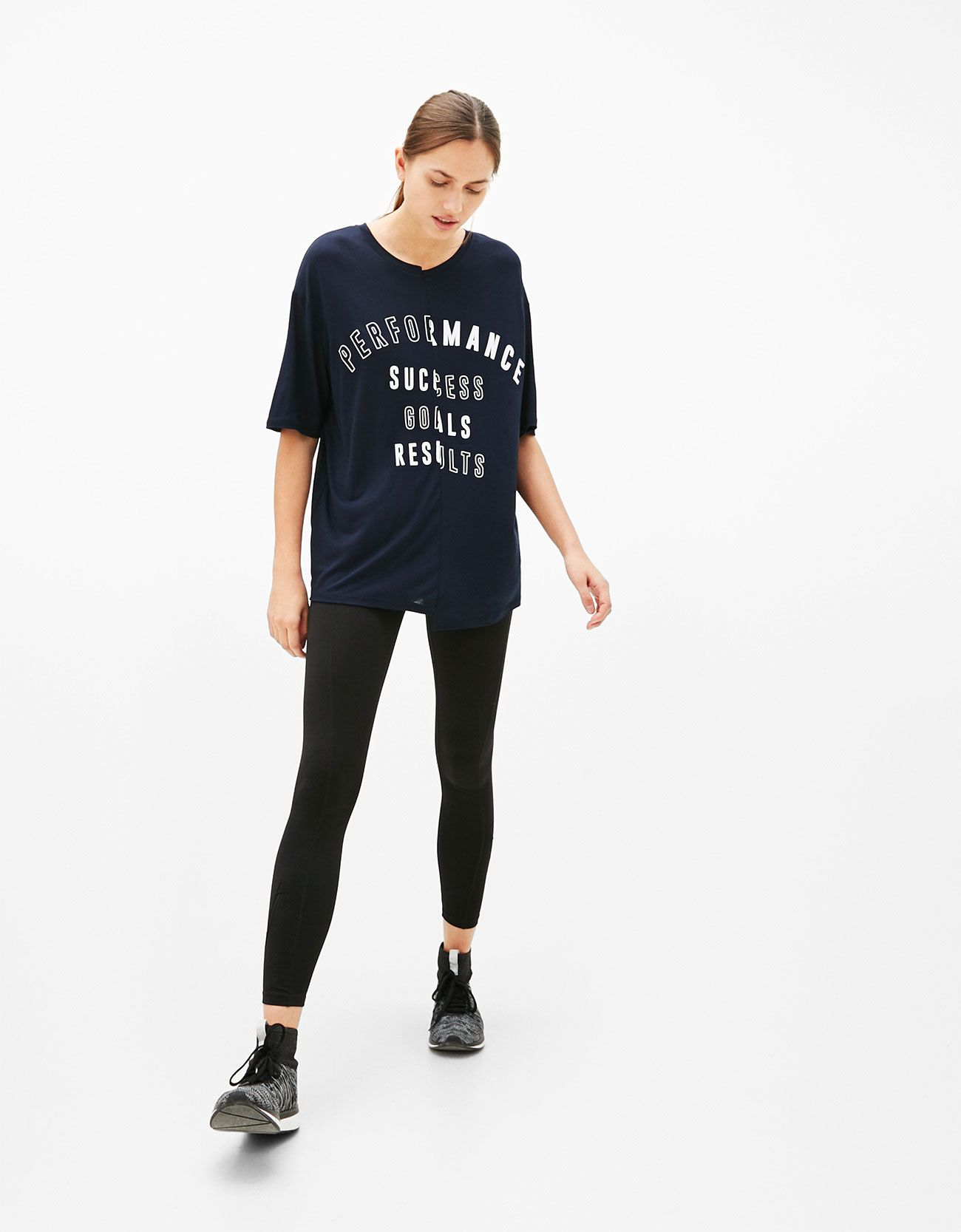 Text print sports T-shirt. Discover this and many more items in Bershka with new products every week