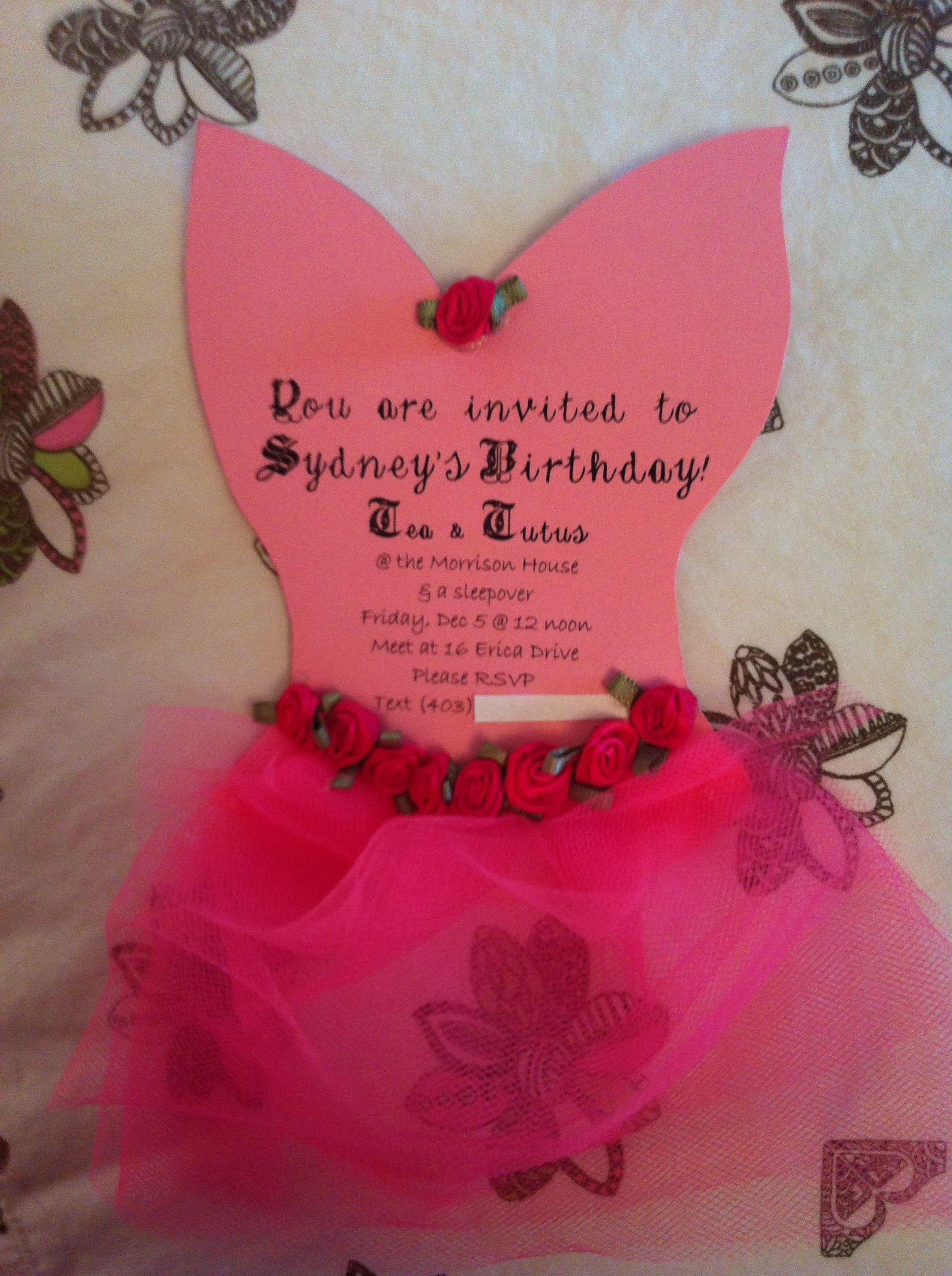 Fine Tutu Birthday Party Invitations Collection