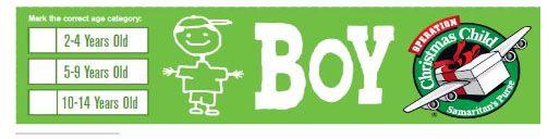 Printable labels | OCC Shoeboxes | Pinterest