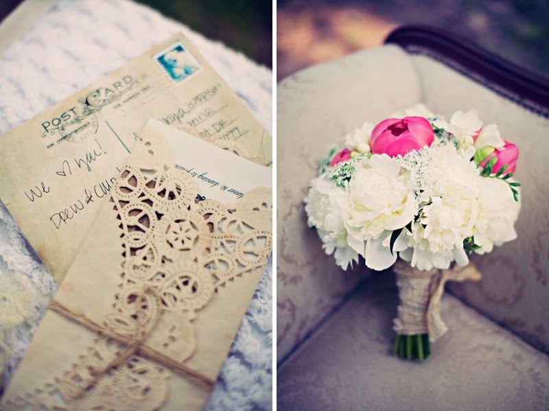 vintage doily wedding invitations%0A Elegant Wedding with Baby u    s Breath Bouquets  u     Vintage Treasures