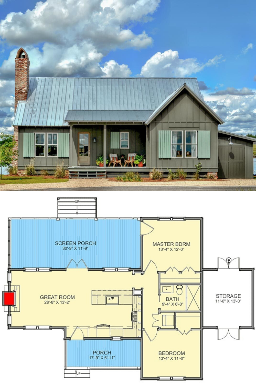 2 Bedroom Single Story Cottage With Screened Porch Floor Plan Cottage Floor Plans Tiny House Cabin Cottage House Plans