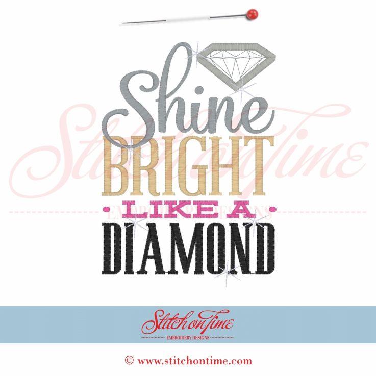 5479 Sayings : Shine Bright Like A Diamond Applique 5x7